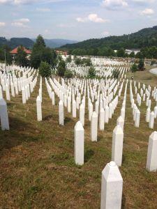 The memorial at Srebrenicia